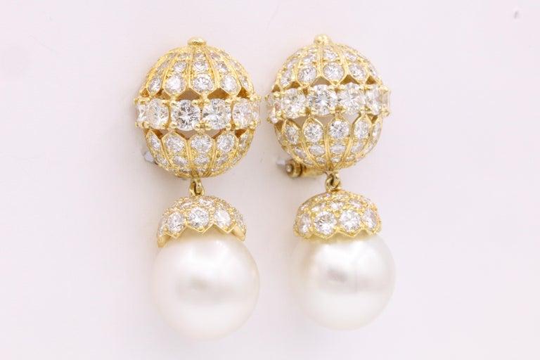 Contemporary Van Cleef & Arpels Diamond Pearl Earrings, Property of Rockefeller For Sale