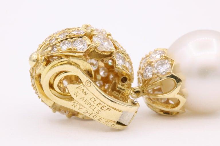Round Cut Van Cleef & Arpels Diamond Pearl Earrings, Property of Rockefeller For Sale