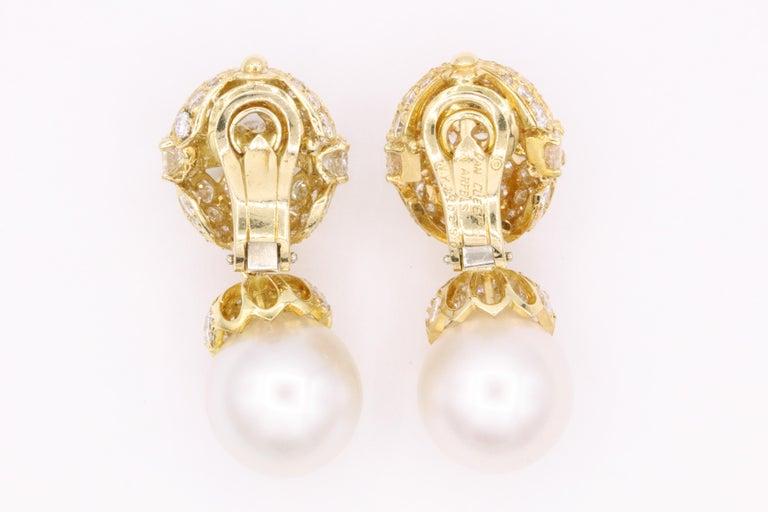 Women's Van Cleef & Arpels Diamond Pearl Earrings, Property of Rockefeller For Sale