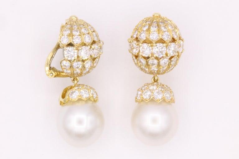 Van Cleef & Arpels Diamond Pearl Earrings, Property of Rockefeller For Sale 1
