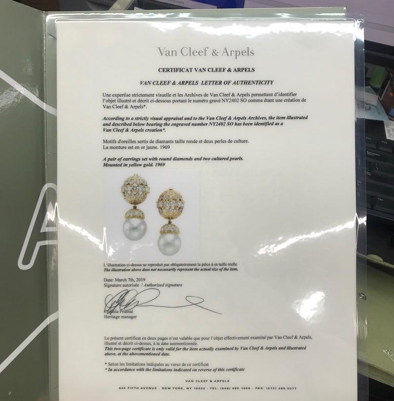 Van Cleef & Arpels Diamond Pearl Earrings, Property of Rockefeller For Sale 2
