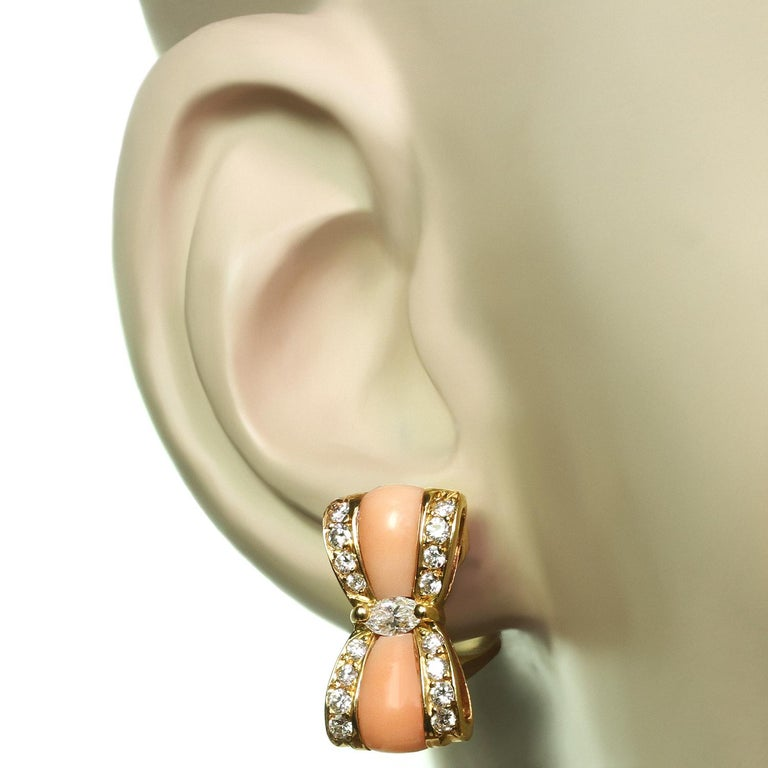 Brilliant Cut Van Cleef & Arpels Diamond Pink Coral Yellow Gold Bow Earrings For Sale