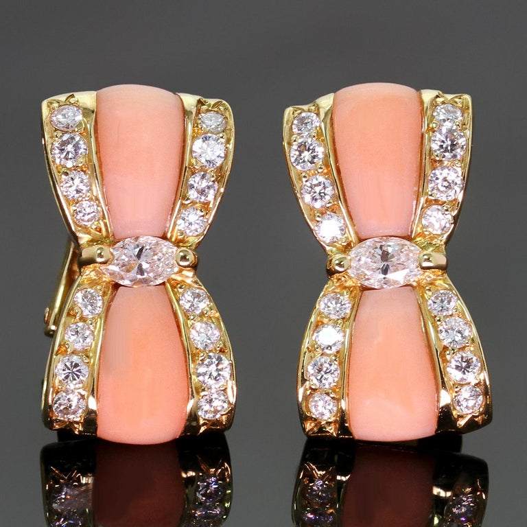 Women's Van Cleef & Arpels Diamond Pink Coral Yellow Gold Bow Earrings For Sale