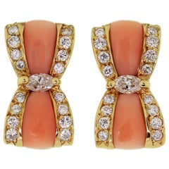 Van Cleef & Arpels Diamond Pink Coral Yellow Gold Bow Earrings