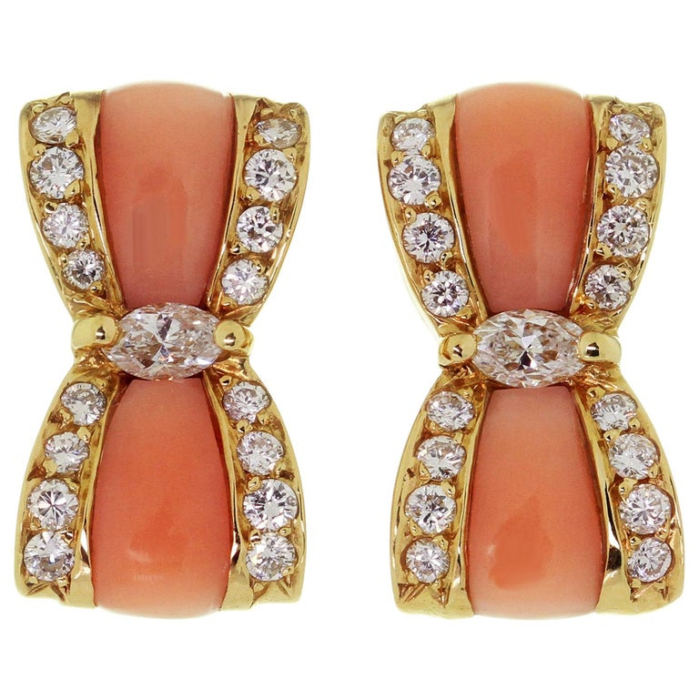 Van Cleef & Arpels Diamond Pink Coral Yellow Gold Bow Earrings For Sale