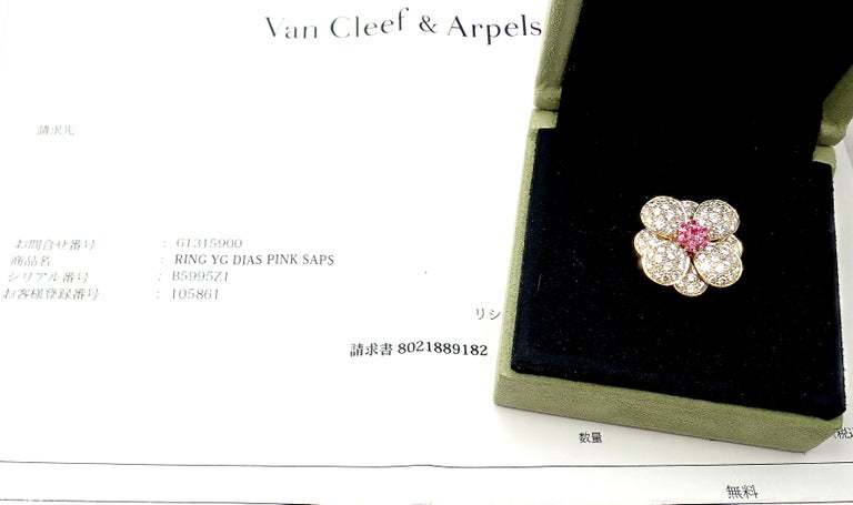 Van Cleef & Arpels Diamond Pink Sapphire Flower Rose Gold Ring For Sale 5