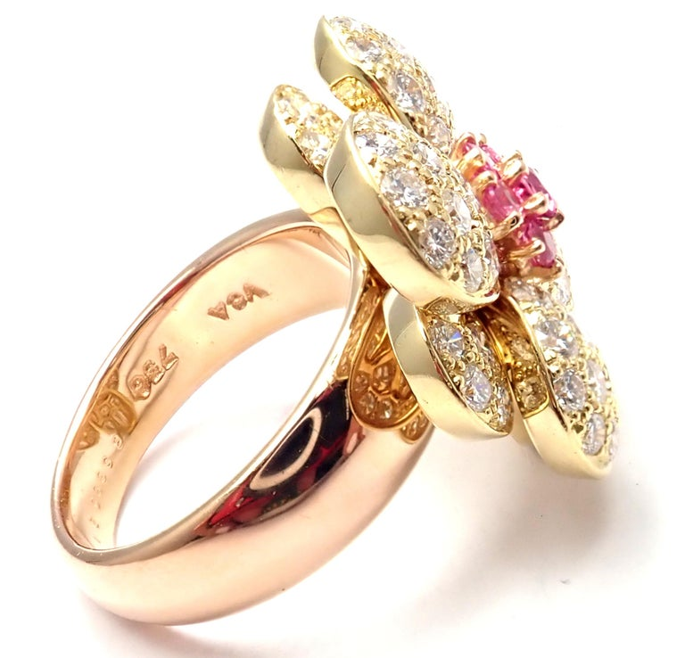 Brilliant Cut Van Cleef & Arpels Diamond Pink Sapphire Flower Rose Gold Ring For Sale