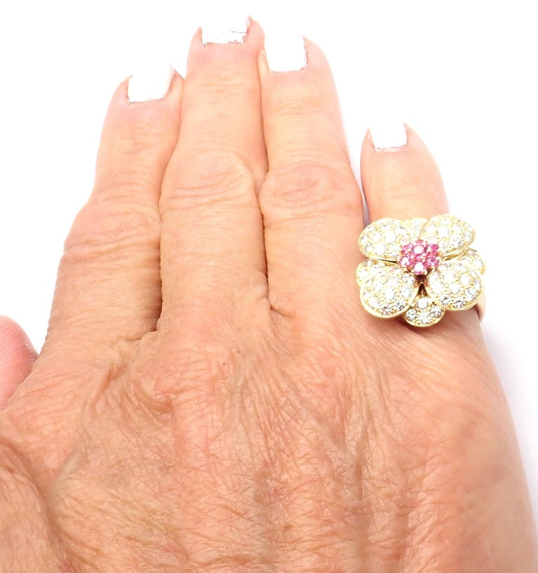 Van Cleef & Arpels Diamond Pink Sapphire Flower Rose Gold Ring For Sale 3