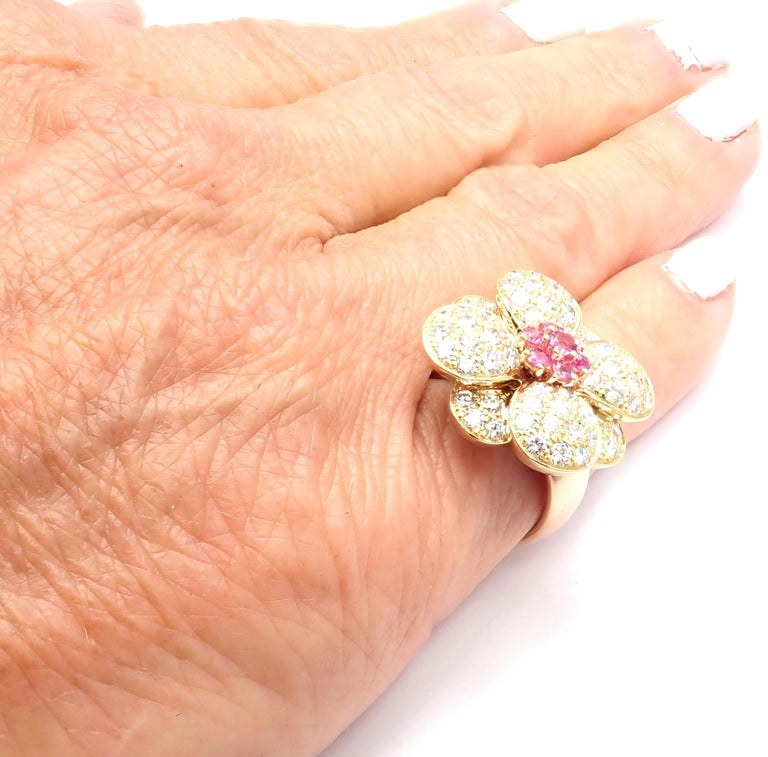Van Cleef & Arpels Diamond Pink Sapphire Flower Rose Gold Ring For Sale 4