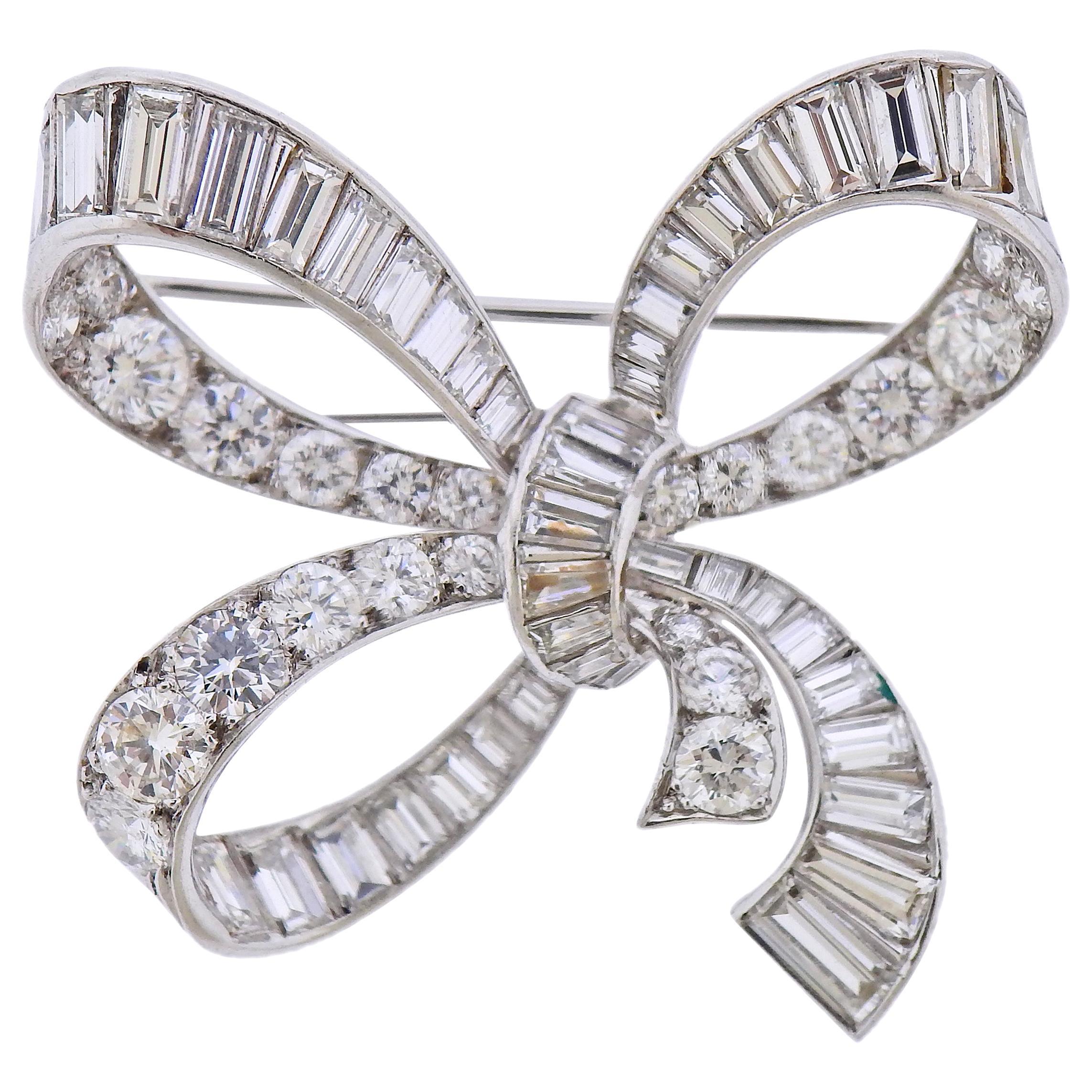Van Cleef & Arpels Diamond Platinum Bow Brooch Pin