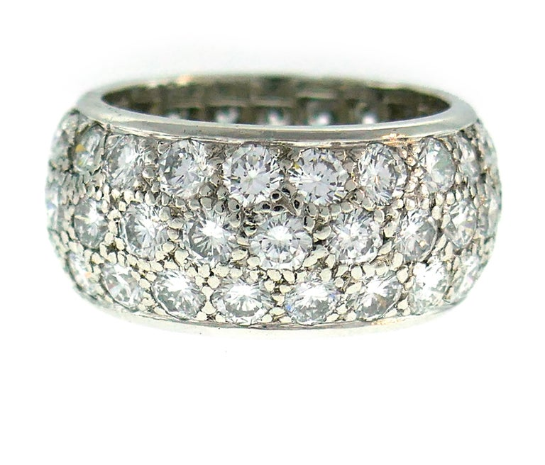 Van Cleef & Arpels Diamond Platinum Eternity Band Ring Size 6 In Excellent Condition In Beverly Hills, CA