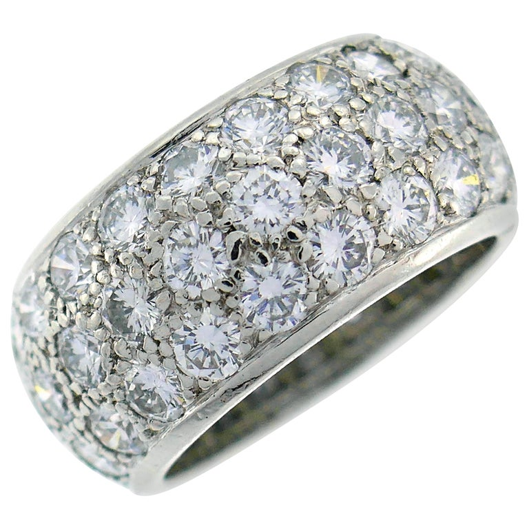 Van Cleef & Arpels Diamond Platinum Eternity Band Ring Size 6