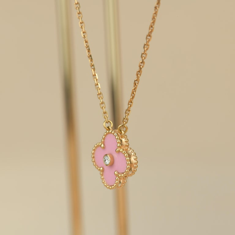 Women's or Men's Van Cleef & Arpels Diamond Porcelain Limited Edition Alhambra Rose Gold Necklace For Sale
