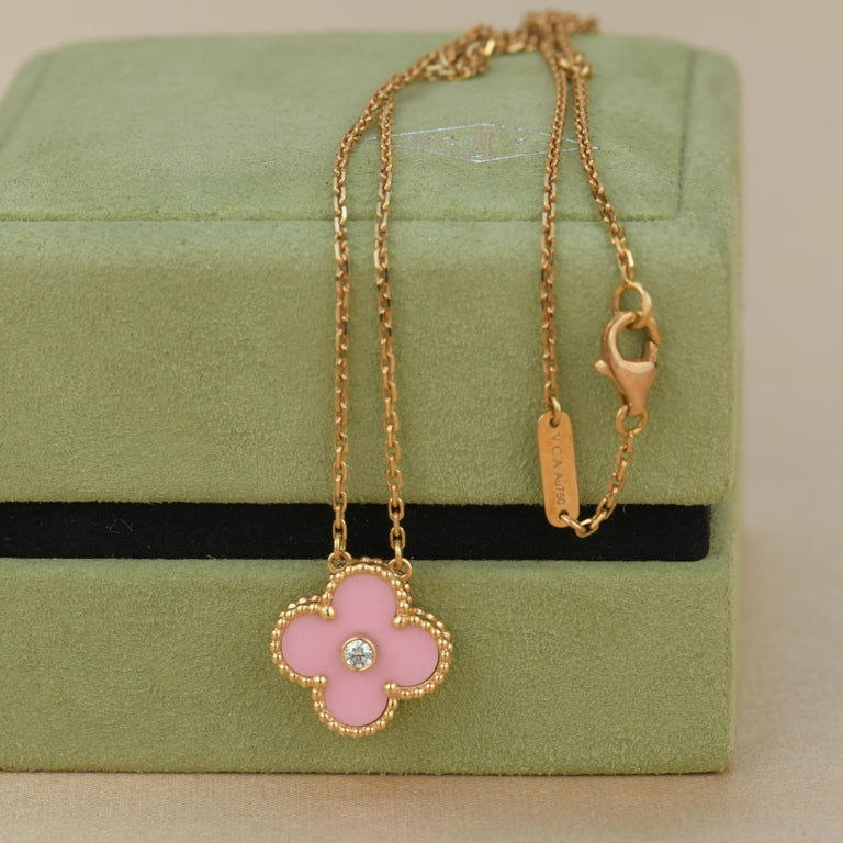 Van Cleef & Arpels Diamond Porcelain Limited Edition Alhambra Rose Gold Necklace For Sale 1