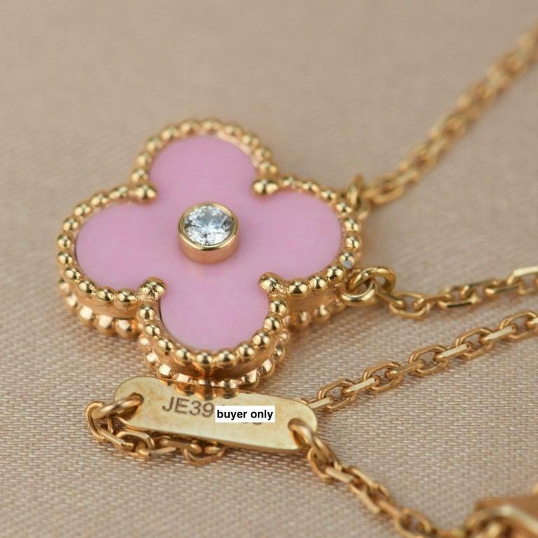 Van Cleef & Arpels Diamond Porcelain Limited Edition Alhambra Rose Gold Necklace For Sale 2