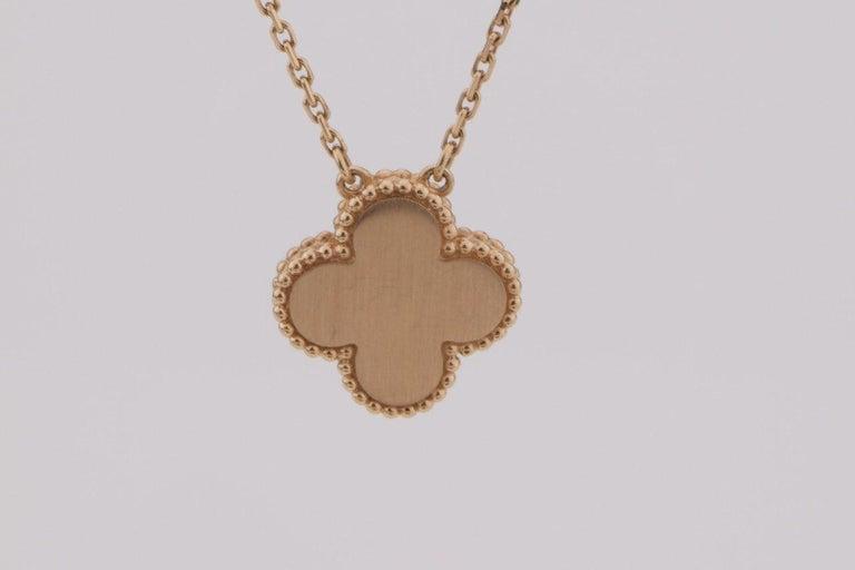 Van Cleef & Arpels Diamond Porcelain Limited Edition Alhambra Rose Gold Necklace For Sale 4
