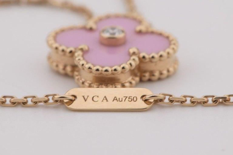 Van Cleef & Arpels Diamond Porcelain Limited Edition Alhambra Rose Gold Necklace For Sale 5