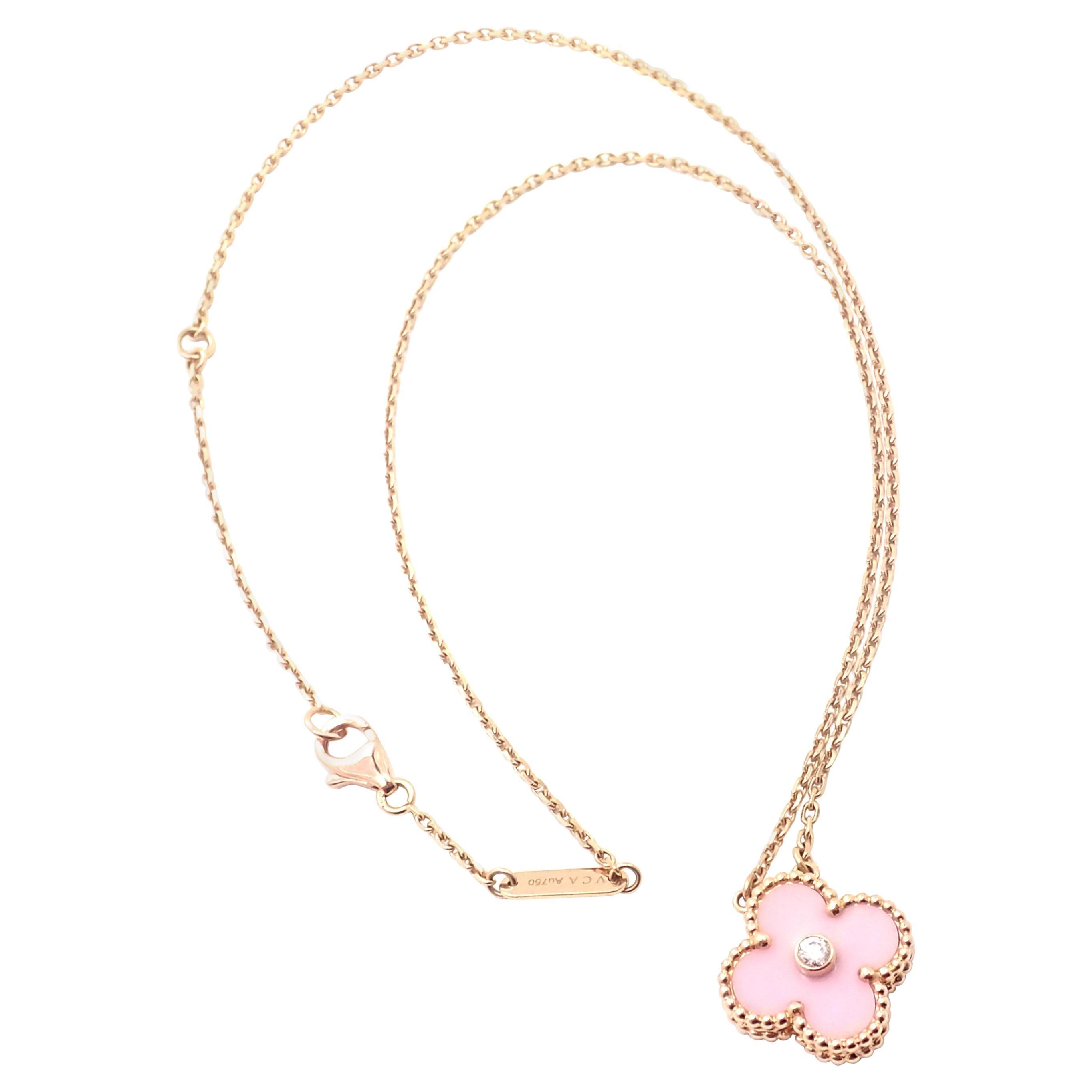 Van Cleef & Arpels Diamond Porcelain Limited Edition Alhambra Rose Gold Necklace