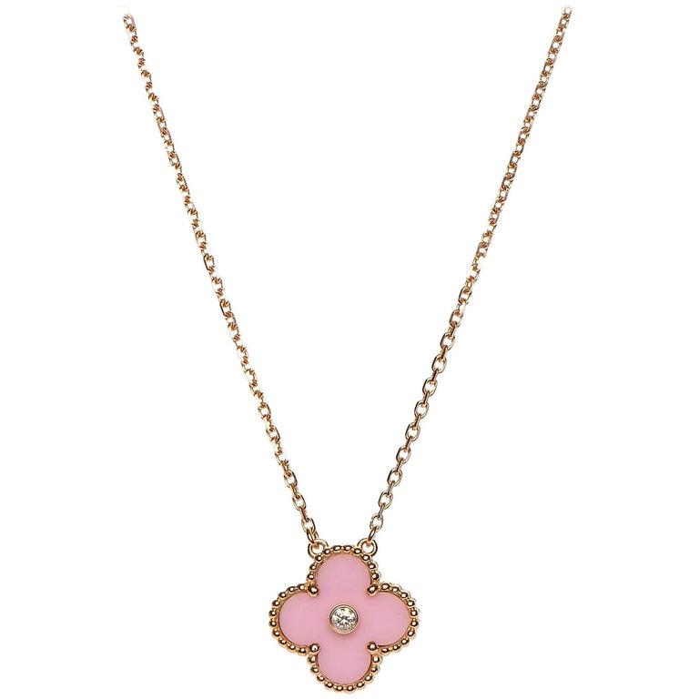 Van Cleef & Arpels Diamond Porcelain Limited Edition Alhambra Rose Gold Necklace For Sale