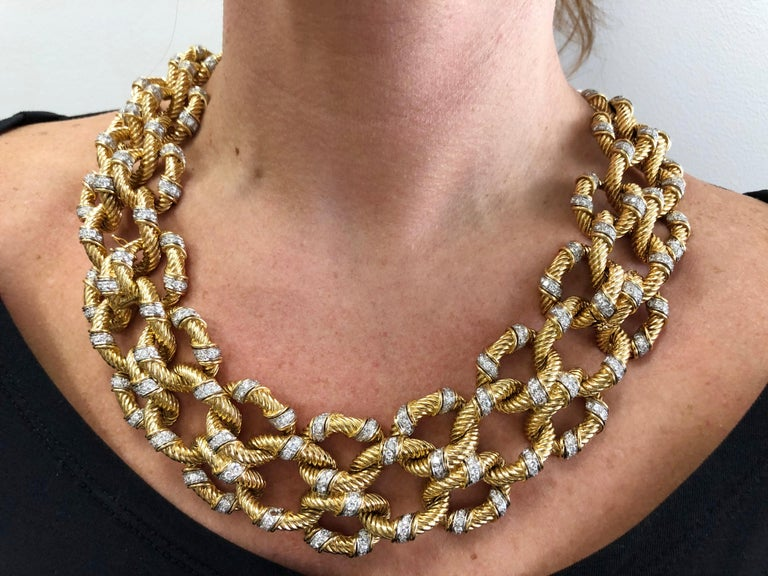 Van Cleef & Arpels Diamond Rope Twist Design Necklace/Bracelets In Good Condition For Sale In New York, NY