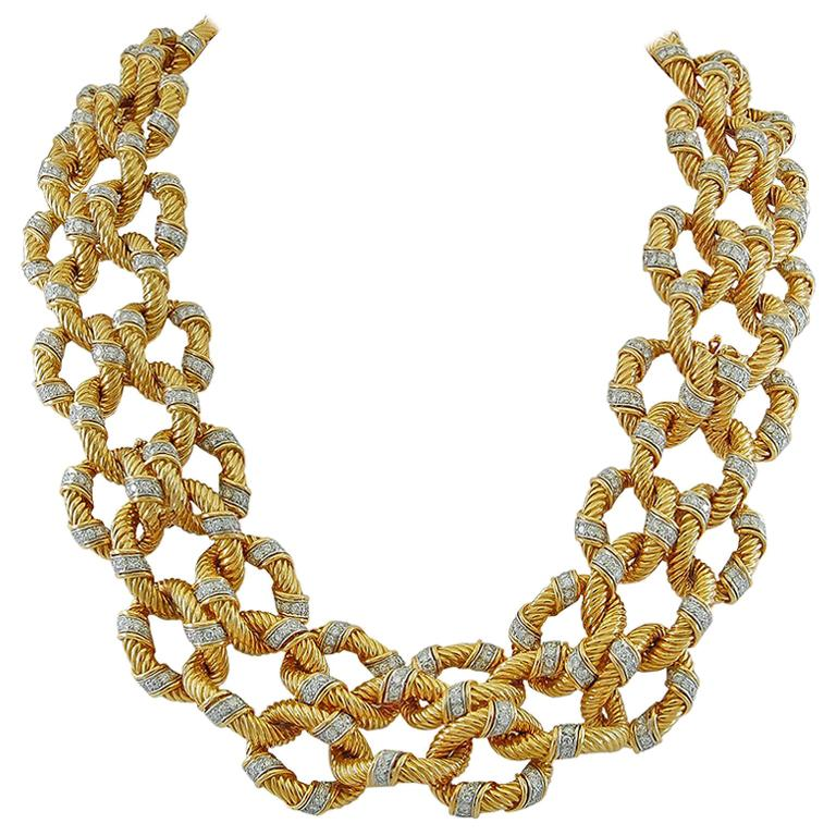 Van Cleef & Arpels Diamond Rope Twist Design Necklace/Bracelets For Sale