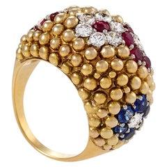 Van Cleef & Arpels Diamond, Ruby and Sapphire Bagatelle Ring