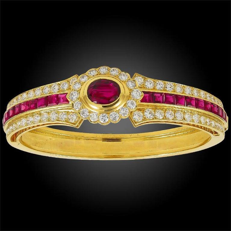 Oval Cut Van Cleef & Arpels Diamond, Ruby Bangle For Sale