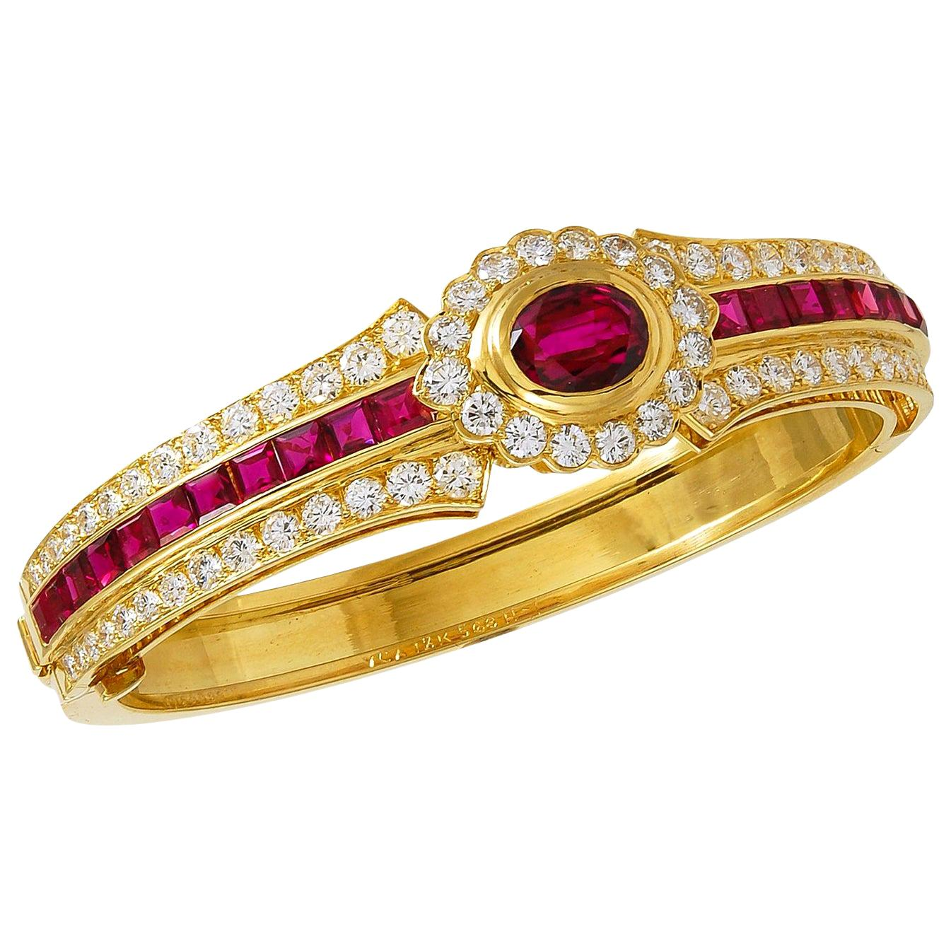 Van Cleef & Arpels Diamond Ruby Yellow Gold Bangle Bracelet