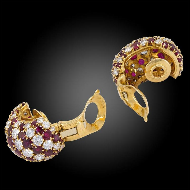 Van Cleef & Arpels Diamond, Ruby Bombe-Style Ear Clips In Good Condition For Sale In New York, NY