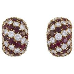 Van Cleef & Arpels Pelouse Ruby Diamond Bombe Earrings