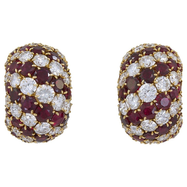 Van Cleef & Arpels Diamond, Ruby Bombe-Style Ear Clips For Sale