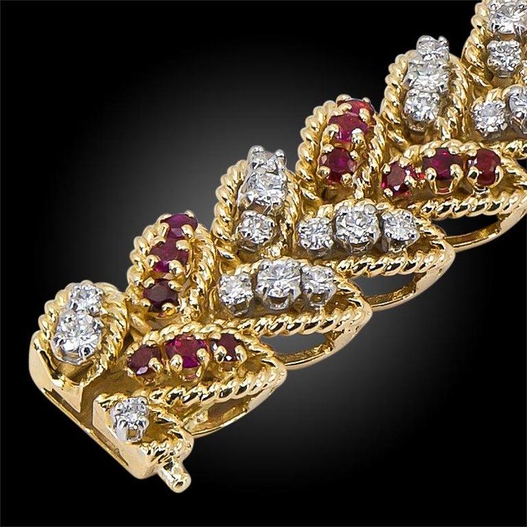 Women's Van Cleef & Arpels Diamond, Ruby Bracelet For Sale
