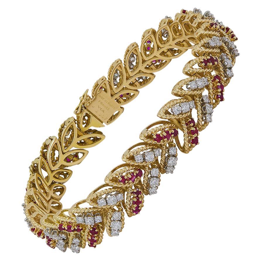 Van Cleef & Arpels Diamond Ruby Yellow Gold Leaf Bracelet
