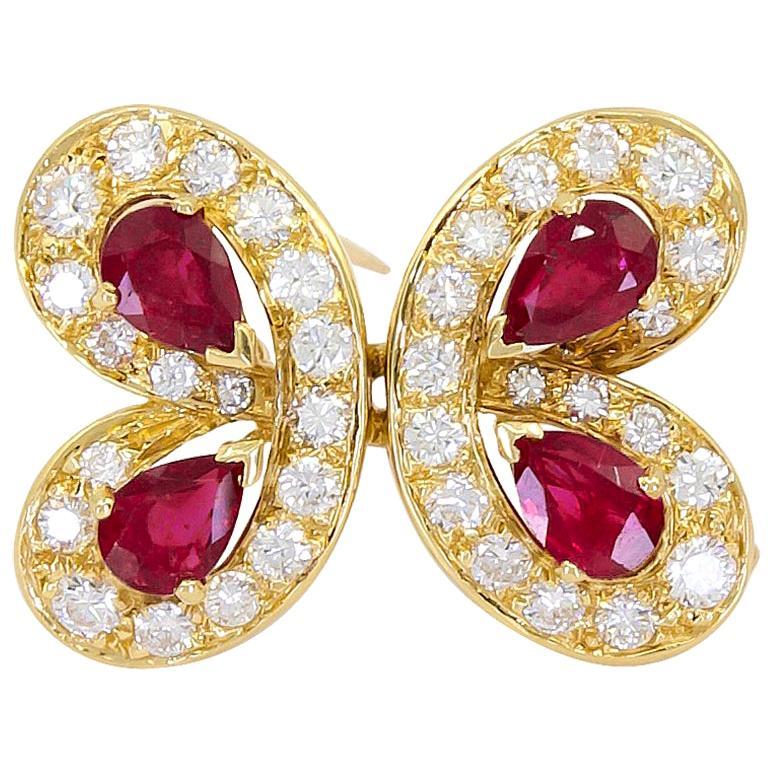 Van Cleef & Arpels Diamond Ruby Yellow Gold Butterfly Brooch
