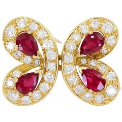 Van Cleef & Arpels Diamond Ruby Yellow Gold Butterfly Brooch