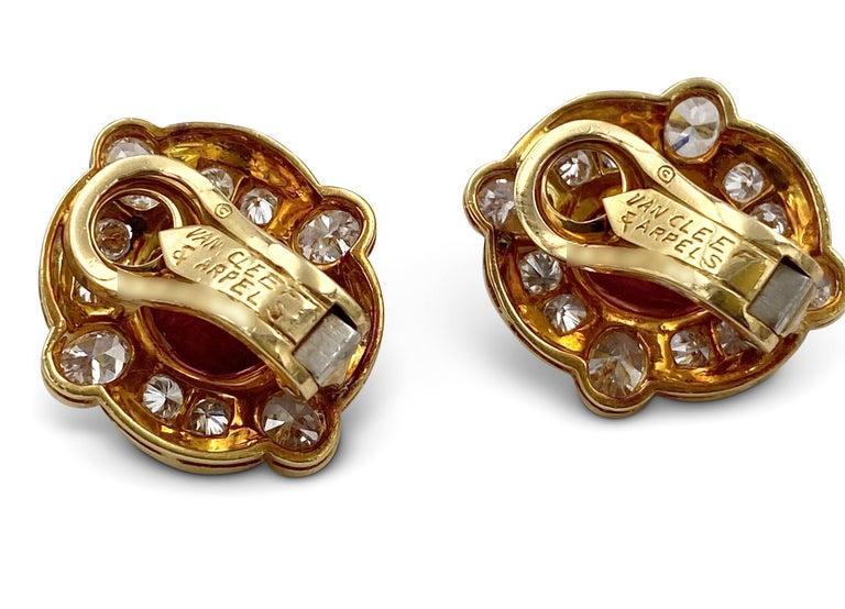 Van Cleef & Arpels Diamond Ruby Earclips For Sale 1