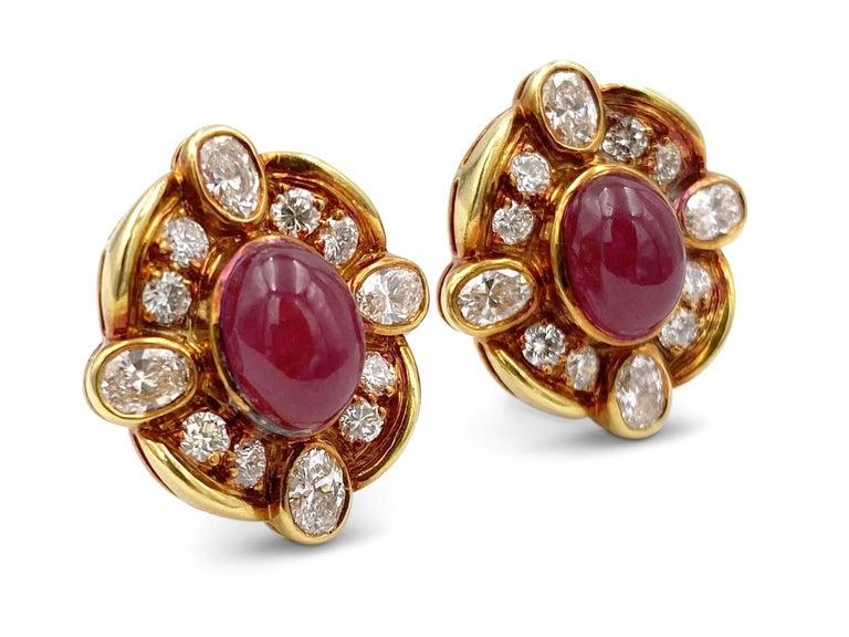 Round Cut Van Cleef & Arpels Diamond Ruby Earclips For Sale