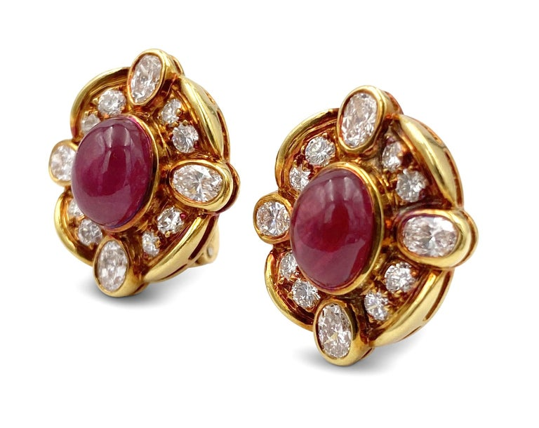 Van Cleef & Arpels Diamond Ruby Earclips In Excellent Condition For Sale In New York, NY