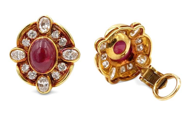 Women's Van Cleef & Arpels Diamond Ruby Earclips For Sale