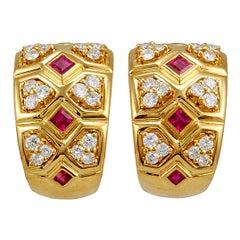 Van Cleef & Arpels Diamond and Ruby Earrings