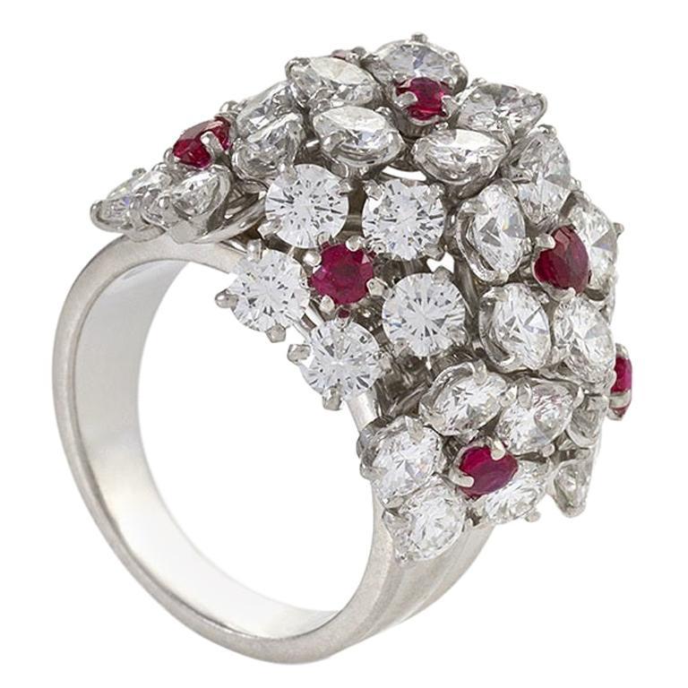 Van Cleef & Arpels Diamond and Ruby Flower Cluster Ring