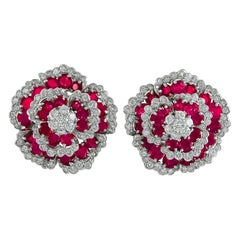 Van Cleef & Arpels Diamond Ruby Flower Ear Clips