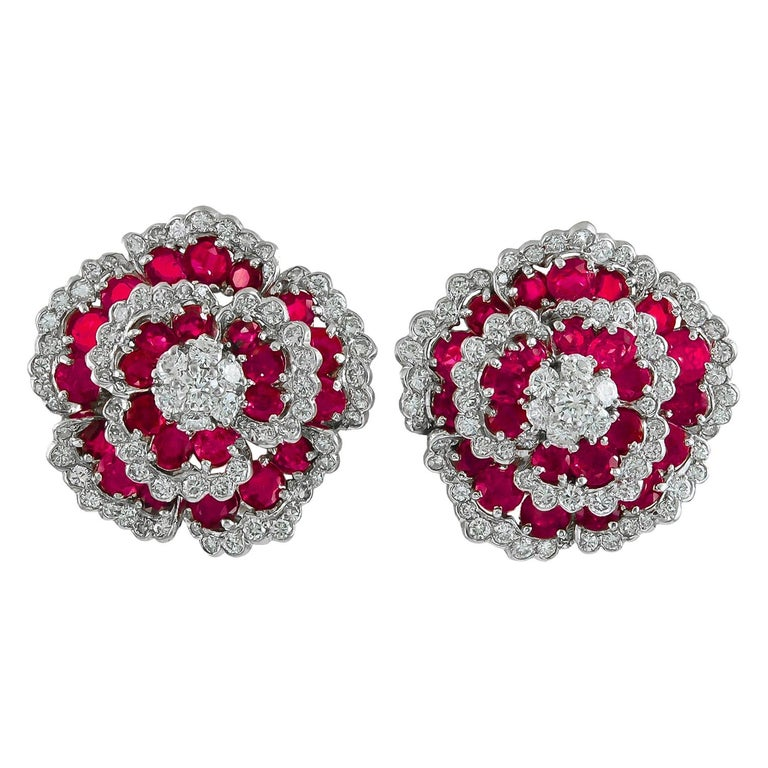 Van Cleef & Arpels Diamond Ruby Flower Ear Clips For Sale