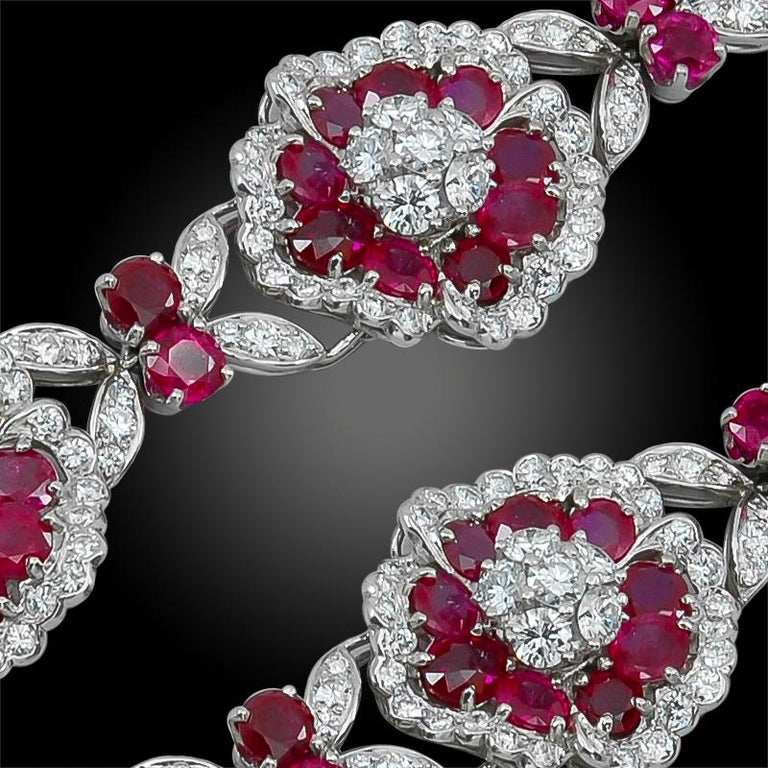 Van Cleef & Arpels Diamond, Ruby Flower Motif Bracelet or Necklace In Good Condition For Sale In New York, NY