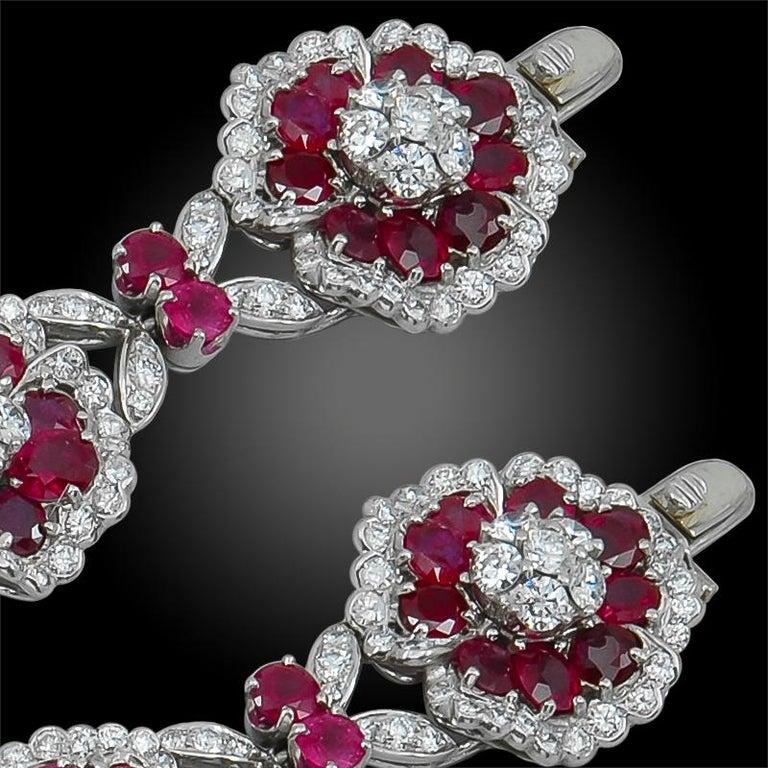 Women's or Men's Van Cleef & Arpels Diamond, Ruby Flower Motif Bracelet or Necklace For Sale