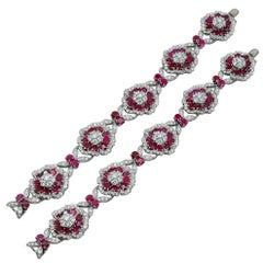 Van Cleef & Arpels Diamond, Ruby Flower Motif Bracelet or Necklace