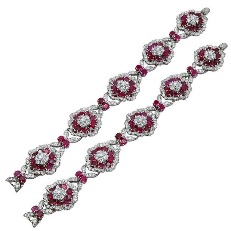 Van Cleef & Arpels Diamond, Ruby Flower Motif Bracelet or Necklace For Sale