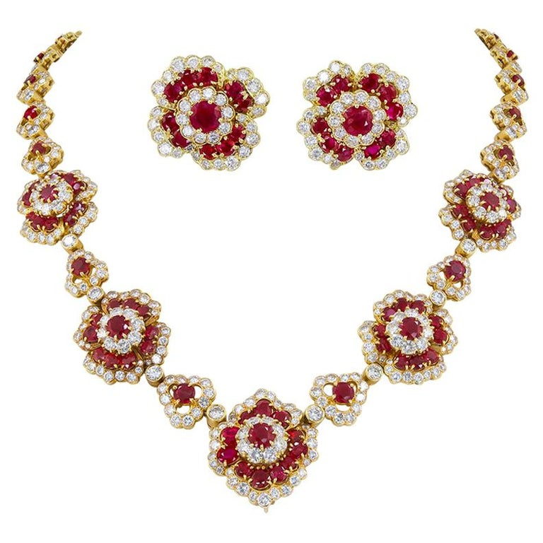 Van Cleef & Arpels Diamond, Ruby Flower Motif Necklace and Ear Clips For Sale