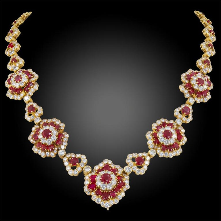 Van Cleef & Arpels Diamond, Ruby Flower Motif Necklace and Ear Clips In Good Condition For Sale In New York, NY