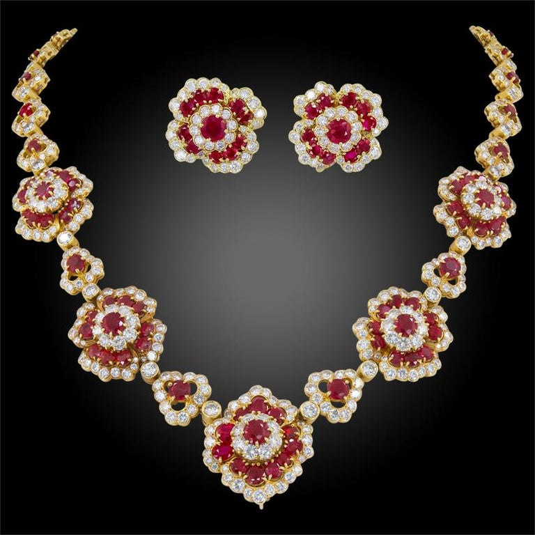 Women's Van Cleef & Arpels Diamond, Ruby Flower Motif Necklace and Ear Clips For Sale